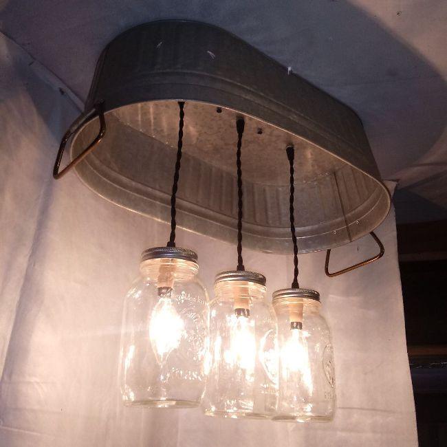 Hanging Washtub Mason Jar Lights 3